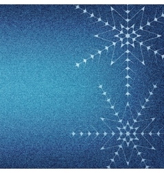 Christmas snowflakes on a blue jeans texture vector