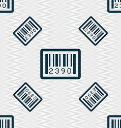 Barcode icon sign seamless pattern with geometric vector