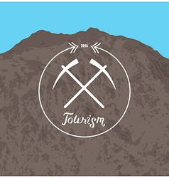 Hipster logo summer camp concept with mountain vector