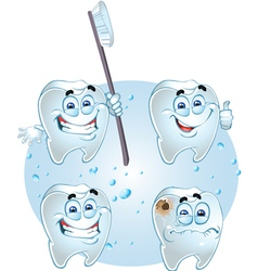 Smiling teeth - health with tooth brush vector