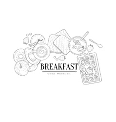 Breakfast with waffle and avocado hand drawn vector