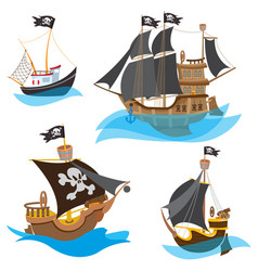 a set of depicting various types of ships pirate vector image vector image