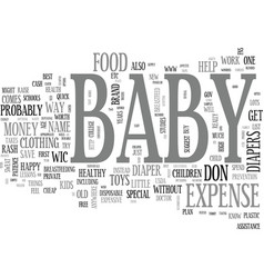 Baby expense when money is tight and baby s on vector