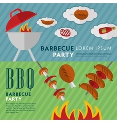 Barbecue grill horizontal banners vector