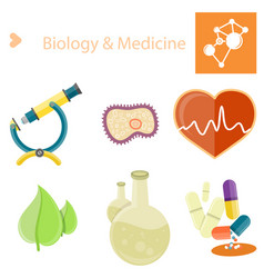 Biology and medecine poster with set vector