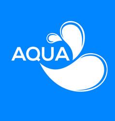 Blue logo label for mineral water aqua icon vector