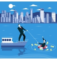 Businessman is drowning and ask for help from his vector