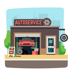 car repair mechanic shop with automobile inside vector image vector image