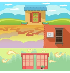 Cartoon landscape with houses windows clouds and vector image vector image