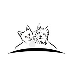 Cat and dog silhouettes logo vector image