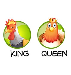 Chicken being king and queen vector