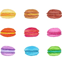 Colorful watercolor macarons vector image