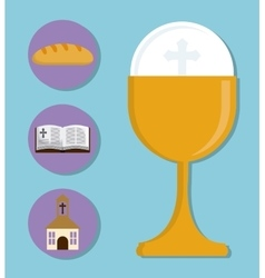 cup church bibble bread gold religion icon vector image