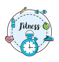 Fitness choronometer with healthy tools vector