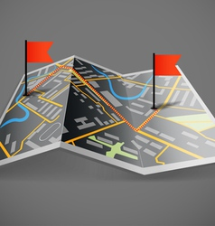 Folded abstract dark city map with flags vector image vector image