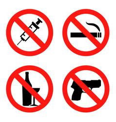 forbidding signs no smoking no drugs no vector image vector image