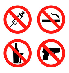 Forbidding signs no smoking no drugs no vector