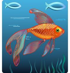 Golden Jesus fish vector image