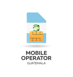 Guatemala mobile operator sim card with flag vector