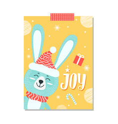 joy rabbit with hat on poster vector image