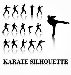 Karate silhouette move set vector image