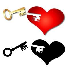Key and heart vector