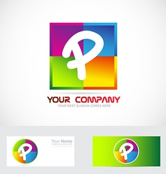 Letter p logo colors vector
