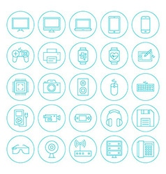 Line circle technology gadgets icons set vector