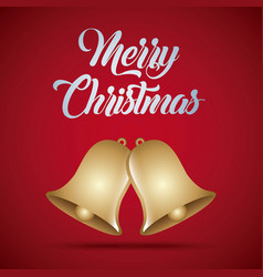 merry christmas card golden bells decoration vector image vector image