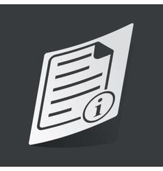 Monochrome information document sticker vector