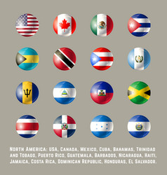 North america round flags vector