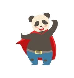 Panda Bear Animal Dressed As Superhero With A Cape vector image