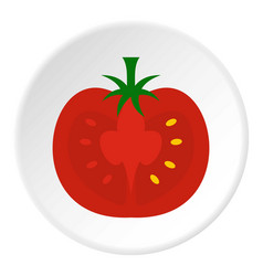 Red half of tomato icon circle vector