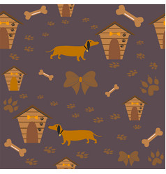Seamless dachshund dog pattern with bones bows vector