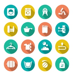 Set flat icons of laundry vector