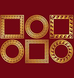 Set golden frames with greek meander pattern vector
