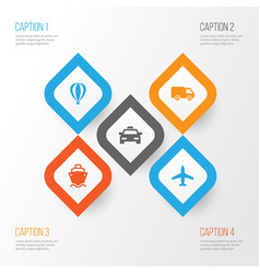 Shipment icons set collection of tanker cab vector