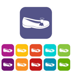 Shoe icons set flat vector