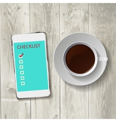 Smart phone with check list vector image