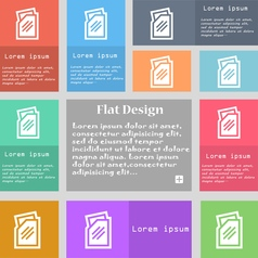 Text file icon sign Set of multicolored buttons vector image