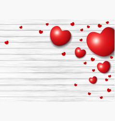 valentines day design of red heart on white wood vector image vector image