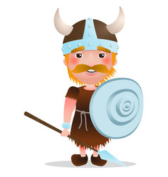 viking warrior cartoon character with red vector image