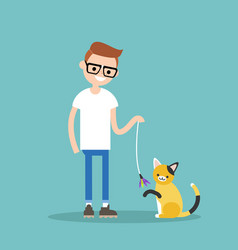 Young character playing with a cat flat editable vector