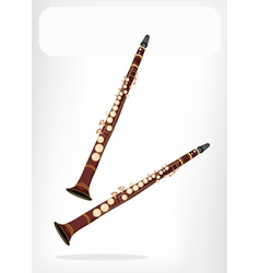 A musical clarinet with a white banner vector