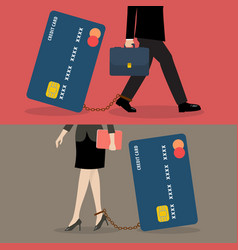 Business man and business woman with credit card vector