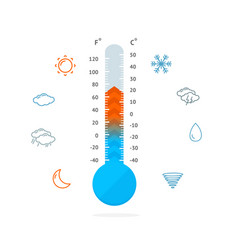 meteorology thermometer and weather icons vector image