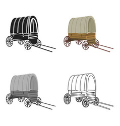 cowboy wagon icon cartoon singe western icon from vector image