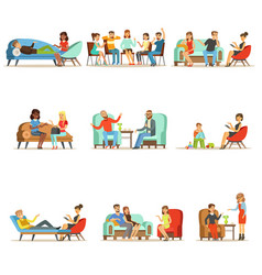 Patients at a reception at the psychotherapies vector