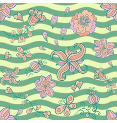 Abstract floral doodle seamless pattern vector