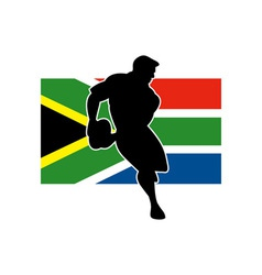 rugby running player flag of south africa vector image